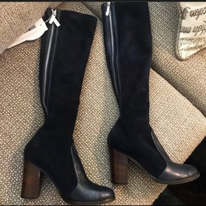 suede/lambskin CHANEL knee high boots